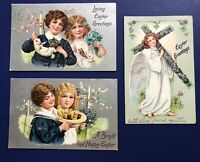 Easter 3 Children & Angel Antique Postcards. Tuck Publ. 1900s. Collector Items.