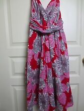 H&M Foral Cotton Lined Lightweight Halter Sundress Size 4
