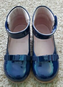 Jacadi Baby Girl Patent Leather T-Strap Shoes Bow 1954 Navy Blue Size EU23/US 6