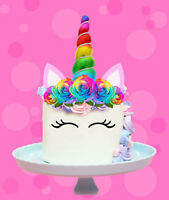 RAINBOW UNICORN HORN EARS FLOWERS EDIBLE STAND UP CAKE TOPPER IMAGE DECORATION