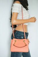 MICHAEL KORS TEAGEN SMALL LEATHER SATCHEL MESSENGER BAG PEACH
