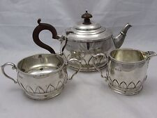 GOOD UNUSUAL ANTIQUE 3 PIECE SILVER TEA SET LONDON 1923 MANOAH RHODES 961 g