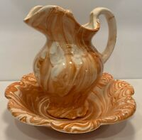 Vintage Small Pitcher & Basin Scalloped Edges Orange/Brown Unique Hand Made 1984