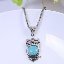 Tibetan Silver Vintage Green Turquoise Owl Bird Pendant Long Chain Necklace Gift