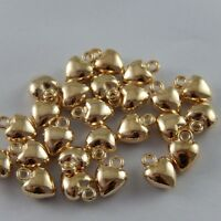 30X Vintage KC Gold Tone Heart Love Pendant Charms Findings 7*7*4mm 37290