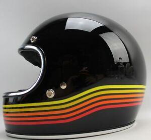 Modern Biltwell Inc. Motorcycle Helmet with Visor and Retro Stripes LARGE