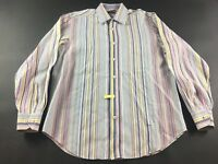 Bugatchi Uomo Mens Multicolored Vertical Striped Long Sleeve Shirt Size Large