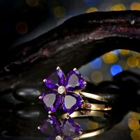 3Ct Heart Cut Amethyst Lovely Snowflake Engagement Ring 14K Yellow Gold Finish