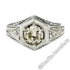 Antique 18k White Gold Men's GIA 1.18ct European Cut Diamond Hand Engraved Ring