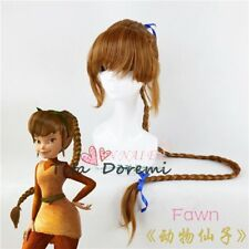 Halloween Wig Costume Tinker Bell Fawn Brown Cosplay Perruque Cheveux 120cm
