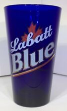 Labatt Blue Beer Glass W/ Maple Leaf Drinkware Barware Cobalt Blue Glass Used