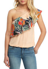 146572 NWD Free People Annka Bubble One-Shoulder Floral Printed Blouse Top M