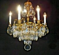 Antique SWEDISH Neoclassical Scalloped 6 Lite Cake Lead Crystal Brass Chandelier