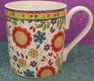 Coverack. The Caravan Trail Queens Cup Mug. Fine China. Brights Floral Flowers.