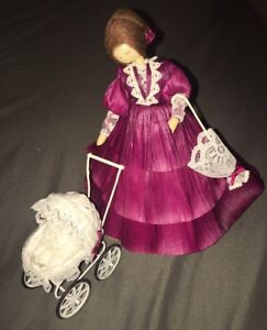 "NEW Nan's Corn Husk Cornhusk 7 1/2"" Doll Brown Hair, Wine/Burgundy Dress w/ Baby"