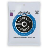 Martin MA175 Authentic Acoustic Guitar Strings, 80/20 Bronze, Custom Light 11-52