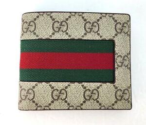 NWT Authentic Gucci Mens Web Beige/ebony GG Supreme Canvas Bi fold 408827 Wallet