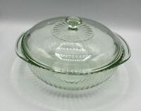 🇺🇸 Vintage PUREX CASSEROLE/BAKING DISH (024-S) W/LID (624); Ribbed, Green Tint