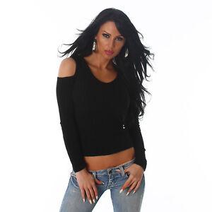 Sexy Shirt Pulli Pullover Schulterfrei  Cut outs Feinripp Shirt Schwarz Größe 40