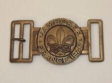 1947 World Jamboree Belt Buckle Paris France WJ Boy Scout International EUC