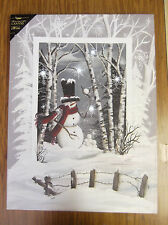 Snowman Trees Christmas Lighted Canvas Wall Decor Sign Woods Snowballs Holiday