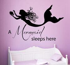 Wall Decal Quote Vinyl Sticker Mermaid Sleeps Here Girls Nursery Decor ART kk827