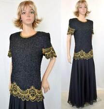 Vtg 90s Brilliante Black Gold Sequin Bead Sheer Full Skirt Formal Evening Dress
