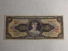 Billet Brésil 50 Cruzeiro Princesse Isabel (avec Tampon)