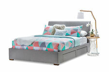 Stylish Grey Fabric Upholstered Queen Size Bed Frame with 4 Storage Drawers