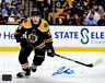 Jake Debrusk Boston Bruins signed home in action up close 16x20