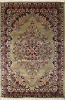 Rugstc 4.5x7 Pak Persian Beige Area Rug, Hand-Knotted,Kirman with Silk/Wool Pile