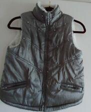 Girls Puffer Faux Fur Trim Grey Metalic Size 10/12 Zip Poly Lined Vest Stones