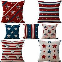 "18""Modern Square Cotton Cushion Cover Throw Pillow Case USA Flag Home Sofa Decor"