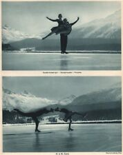 ICE FIGURE SKATING. Double footed spin - Piroutte - H. & M. Curry 1935 print