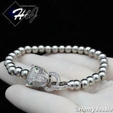 Women Fashion Leopard Head Silver Beads Adjustable Bracelet*B98