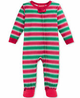Family Pajamas Unisex Baby Boys and Girls Holiday Stripe Footed PJ's, Red/Green