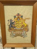 Vintage Painting Gouache Watercolor Coat of Arms Family Crest J Liebich 1958 O-O