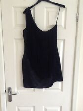 GLAM BY CAPRICE BLACK ONE-SHOULDER FRINGED DRESS SIZE 12. BNWOT.