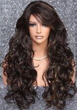 Full Heat OK Curly Long Wig Brown mix Bangs Layered Hair Piece 4/27 NWT WBSO