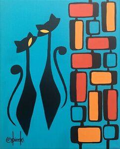 Clee Sobieski PRINT Mid Century Modern Black Kitty Cat Pop Mod Atomic Retro