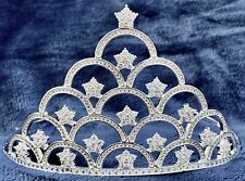 CZ Cubic Zirconia Imitation Diamond Stars Bridal Prom Tiara Queen Pageant Silver
