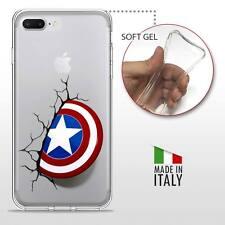 iPhone 7 Plus CASE COVER GEL PROTETTIVA TRASPARENTE DC MARVEL Captain America