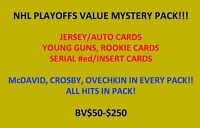 NHL VALUE MYSTERY PACK! AUTO, JERSEY, #ed, RC! ALL HITS! BV $50-$250!!