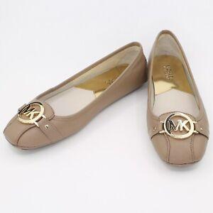 Womens MICHAEL KORS Nude Ballerina Leather Flat Shoes Size US 8M UK 6