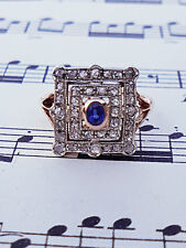 Vintage Inspired 9ct Rose Gold Sapphire and Diamond Ring