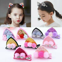 NEW Hair Clips Girl Glitter Sequins Cat Ears Hairpin Rainbow Hair Accessories