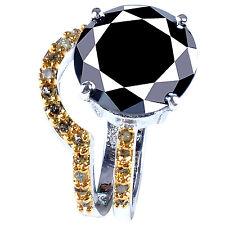Diamond 925 Sterling Silver Bridal Ring 5+Black Moissanite & Raw Golden Natural