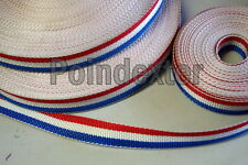 """1 Inch Nylon Webbing Poly, Red White & Blue, 5 Yd Roll, """"ALMOST GONE"""" New, USA"""