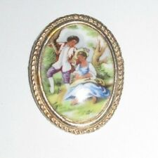 Vintage Limoges France Hand Painted Porcelain Courting Couple Pin Brooch Estate
