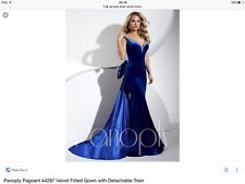 Panoply Blue Velvet Crystal Off The Shoulder Mermaid Trumpet Gown UK 10 USA 6 BN